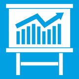 Growing chart presentation icon white Stock Images
