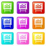 Growing chart presentation icons 9 set Royalty Free Stock Image