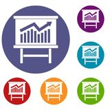 Growing chart presentation icons set Stock Photo