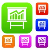 Growing chart presentation set collection. Growing chart on presentation board set icon in different colors isolated vector illustration. Premium collection Stock Photo