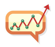 Growing chart process arrow in chat speech bubble Royalty Free Stock Photo