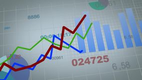 Growing charts animation in addition to black background.  stock illustration
