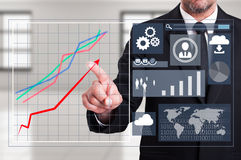 Growing charts on transparent digital futuristic display or scre Royalty Free Stock Photos