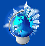 Growing cities on the globe royalty free stock image
