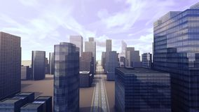 Growing city street view building 3d