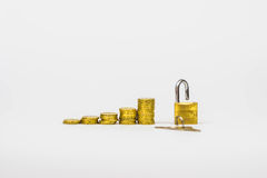 Growing coins with padlock Stock Photo