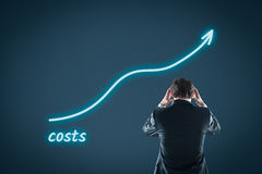 Growing costs. Concept. Financial manager is frustrated by Stock Images