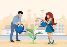 Growing Crops in Industrial Zone Flat Illustration vector illustration