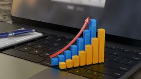 Growing 3D financial graph on laptop keyboard, financial statistics, analytics