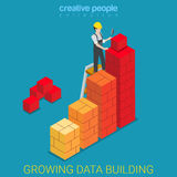 Growing data building construction chart flat isometric vector Stock Photos