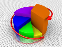Growing diagram of a pie chart and arrow. 3d diagram of growing pie chart and an arrow around it Royalty Free Stock Photography