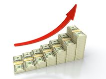 Growing dollar. 3D render of growing stack of dollar bills Royalty Free Stock Photography