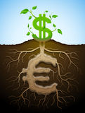 Growing dollar sign like plant with leaves and euro like roots Stock Images