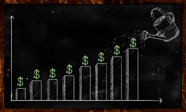 Growing Dollar Sketch on Blackboard. Digital Drawing Royalty Free Stock Photo