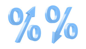 Growing and dropping percent symbols. Stock Image