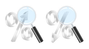 Growing and dropping percent symbols. And magnifying glass. Vector illustration Royalty Free Stock Image