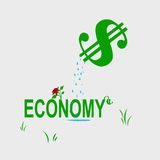 Growing economy. A money sign waters the economy to help it grow Stock Image