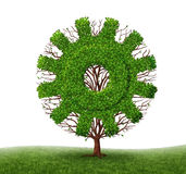 Growing Economy And Business. Concept with a tree and branches with leaves in the shape of a machine gear or cog as an industrial symbol of financial success Royalty Free Stock Image