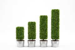Growing the economy. 3D Rendering. Plants on vases as statistic graph. Growing the economy concept 3D Rendering stock images