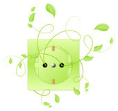 Growing electric outlet. Like symbol of biotechnology and ecology energetic, isolated on white background. Vector illustration Royalty Free Stock Photo