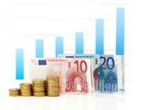 Growing euro graph Royalty Free Stock Photos
