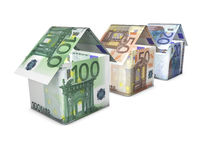Growing Euro House Shape. Real estate and house value growth concept. Home icon shaped with growing euro banknotes value on white background Royalty Free Stock Images