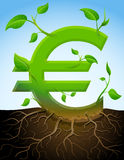 Growing euro symbol like plant with leaves and roo. Stylized plant in shape of euro sign in ground. Qualitative vector (EPS-10) illustration for banking Stock Photo