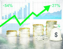 Growing finances on chart background Royalty Free Stock Photos