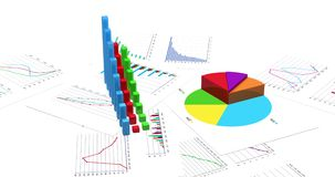 Growing financial charts on white background. Loopable 3D animation. 4K improved version