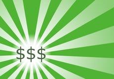 Growing Focus on Cash. Focus on cash on a sunwave background royalty free illustration