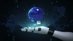 Growing Global Network with airplane, train,ship, car transportation, world map,earth on robot cyborg palm, hand, robot arm, 2. Growing Global Network with stock footage