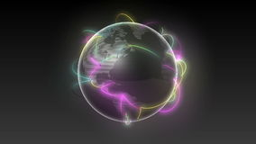 Growing Global Network Black earth-black background stock footage