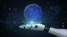 Growing Global Network with wi-fi communication, world map,earth on robot cyborg palm, hand, robot arm. Growing Global Network with wi-fi communication, world