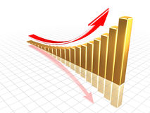 Growing gold chart. Stock Photo