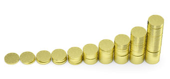 Growing golden dollar coins bar chart Stock Images