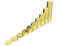 Growing golden dollars coins bar chart. Financial growth and business success creative concept - growing golden bar chart contains of gold dollars coins Stock Photos