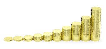 Growing golden dollars coins bar-chart Royalty Free Stock Images