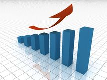 Growing graph. Isolated blue graph with red arrow. Computer render Royalty Free Stock Image