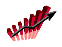 Growing graph. Red growing graph with arrow and graph reflection stock illustration