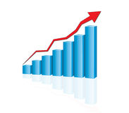 Growing graph. Blue graph with  red arrow Royalty Free Stock Images