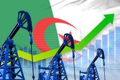 Growing graph on Algeria flag background - industrial illustration of Algeria oil industry or market concept. 3D Illustration. Algeria oil industry concept stock illustration