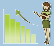 Growing graph. Business woman and growing graph Royalty Free Stock Photography