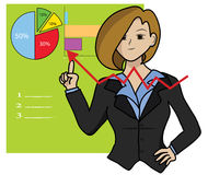 Growing graph. Business woman and growing graph Stock Photos