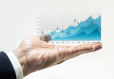Growing graph chart of business financial on male hand. Royalty Free Stock Photography