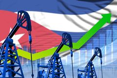 Growing graph on Cuba flag background - industrial illustration of Cuba oil industry or market concept. 3D Illustration. Cuba oil industry concept, industrial royalty free illustration