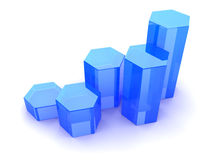 Growing graph. 3d illustration of rising charts blue glass Royalty Free Stock Image