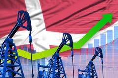 Growing graph on Denmark flag background - industrial illustration of Denmark oil industry or market concept. 3D Illustration. Denmark oil industry concept vector illustration