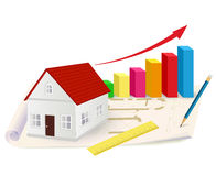 Growing graph with house, ruler and pencil. Real estate concept. Vector illustration Stock Image