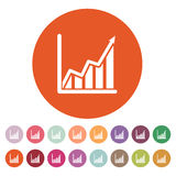 The growing graph icon. Growth and up symbol. Flat. Vector illustration. Button Set Stock Photography