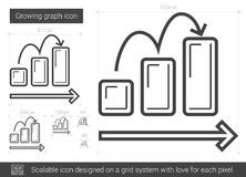 Growing graph line icon. Royalty Free Stock Photography